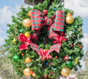 Outside Christmad Wreath royalty free stock photos