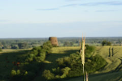 Outside the city - rural landscape - an old windmill on the fiel Royalty Free Stock Images