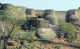 From outside the city wall at Kumbhalgarh. Kumbhalgarh Fort is a Mewar fortress on the westerly range of Aravalli Hills, in the Rajsamand District of Rajasthan Stock Images