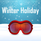Outside close-up red ski goggles Royalty Free Stock Photography