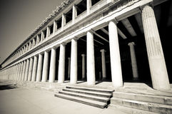 Outside columns at Stoa of Attalos, Athens,. Greece Stock Images