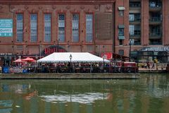 Outside Dining in Baltimore Maryland stock images