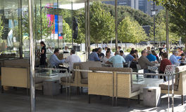 Outside dining at restaurant at noon in Klyde Warren Park Royalty Free Stock Image