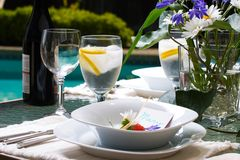Outside dinner table setting Royalty Free Stock Images