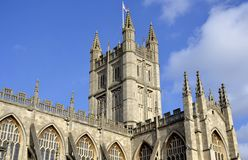 Outside facade of Bath cathedral Royalty Free Stock Images