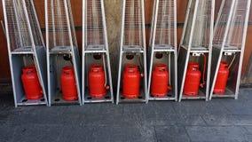 Outside fan heater in streets of porto. Streets of porto with huge fan heaters royalty free stock image