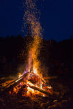 Outside fire. View of a outside fire in a camping base, night view stock photography