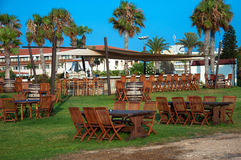Outside furniture. In a cafe restaurant close to beach in Cyprus Stock Images