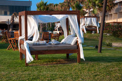 Outside furniture. In a cafe restaurant close to beach in Cyprus Royalty Free Stock Photos