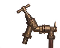 Outside garden tap. Shiny new horizontal brass water tap isolated against white stock photo