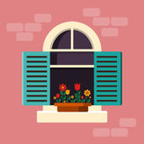 Outside House Window with Shutters Royalty Free Stock Photography