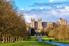 Outside landscape of Medieval Windsor Castle. Windsor castle, England - March 22, 2017: Outside landscape of Medieval Windsor Castle. Windsor Castle is a royal Royalty Free Stock Image