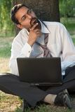 Outside with laptop Royalty Free Stock Photography