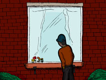 On the Outside Looking In. Dark skinned man standing outside a window looking in stock illustration
