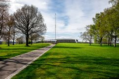 Outside memorial and statue of Robert the Bruce at Battle of Bannockburn Stock Image