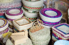 Mexican straw store display Royalty Free Stock Photo