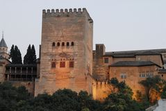 The outside night view of the Alhambra in Granada in Andalusia (Spain) Stock Photos