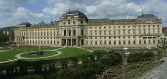 Outside the palace. A panoramic view of Wuerzburg's palace Stock Photo