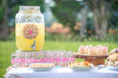 Outside party table with lemonade dispenser,. Jars with pink checkered bows and cupcakes Royalty Free Stock Images