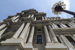 Outside of Philadelphia's City Hall Looking Straight Up. A looking up at the sky perspective just outside of Philadelphia's City Hall Royalty Free Stock Photography