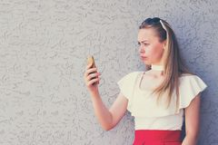 Outside picture of lovely trendy girl stock image