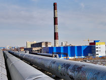 Outside pipelines near Combined Heat and Power Stock Image