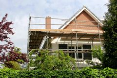 Outside renovation of a modern home Stock Photography