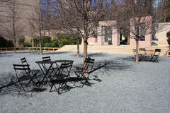 Outside Rest place with tables and chairs. It is a museum outside  rest place for visitors ,it is spring Stock Photos