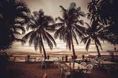 Outside restaurant at the beach in rain time with Stock Image