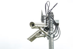 Outside security cameras cover multiple angles. Royalty Free Stock Photo