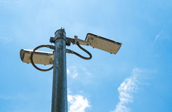Outside security cameras cover multiple angles Royalty Free Stock Photo