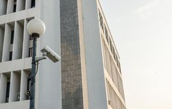 Outside security cameras cover single angles Royalty Free Stock Image