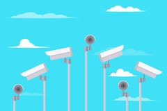 Outside security cameras. Vector image vector illustration
