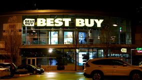 Outside shot of Best buy store at night stock footage