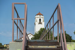 Outside stairs and a train depo. Train Depot with stairway Boise Idaho Stock Photos