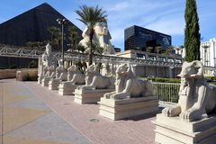 Outside statues in front of the Luxor Royalty Free Stock Photography