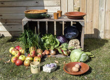 Outside still life with food. Fruit vegetables and wooden case Royalty Free Stock Photo