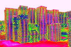 Outside stock of old manufactured wooden standard euro pallets  in thermography scan. Outside stock of old manufactured wooden euro pallets  in thermography Royalty Free Stock Photos