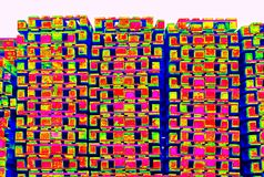 Outside stock of old manufactured wooden standard euro pallets  in thermography scan. Outside stock of old manufactured wooden euro pallets  in thermography Royalty Free Stock Photography