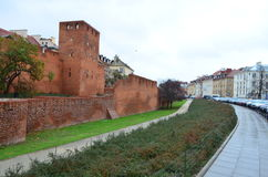 Outside Street View of Warsaw Barbican in Warsaw, Poland royalty free stock images