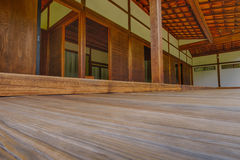 Outside Teak decking leading into the bedrooms of the Shofuso Tr Royalty Free Stock Images