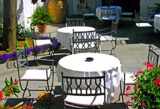 Outside terrace of restaurant royalty free stock photo