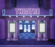 Outside theatre. Illustration of the entry of a theatre. Night scene with neon lights. The space in the playbills is empty, allowing a text to be written Stock Photography