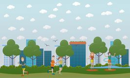 Outside training concept vector flat illustration. Vector illustration of men running and women jogging, doing hula hoop and jump rope exercises in park Royalty Free Stock Image