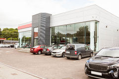 Outside view of car dealership Stock Images