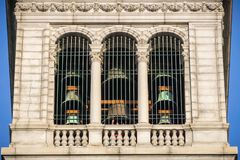 Outside view of the Carillon located at the top of the Campanile Sather Tower, Berkeley, San Francisco bay area, California stock photos