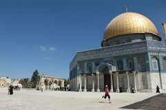 Outside view of Dome of the rock at Jerusalem, Israel stock photo
