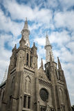 Outside view of Jakarta cathedral. Jakarta cathedral with blue sky behind it Stock Photography