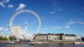 Outside view of London Eye stock footage