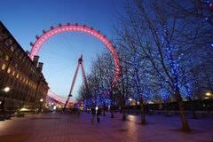 Outside view of London Eye, Night Royalty Free Stock Photos